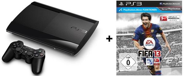 Super! Günstige PS3-Bundles bei Amazon - z.B. PS3 SuperSlim (12 GB) + FIFA 13 + 90 Tage PS Plus für 203 €
