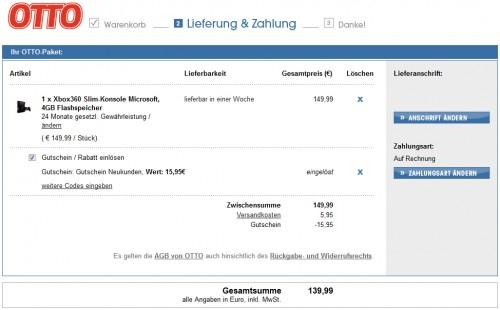 Xbox 360 Slim (4 GB) + Sega Superstars Tennis für 139,99 € für Otto-Neukunden