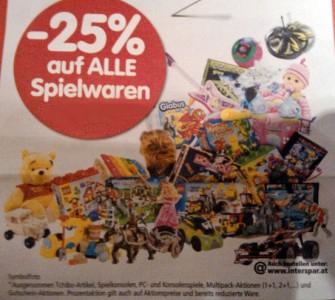Super! 25% Rabatt auf einen Spielwarenartikel nach Wahl bei Interspar - am 20. und 21.12.2012