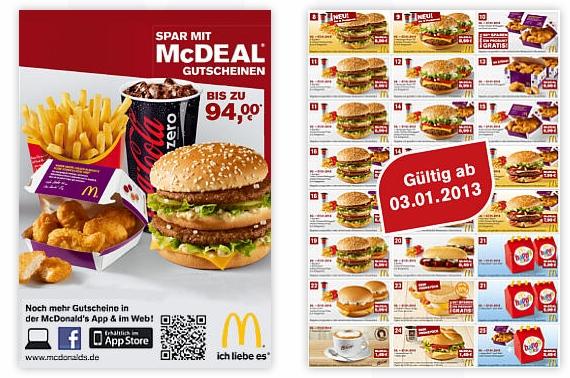 Neue McDonalds Gutscheine - Januar 2013
