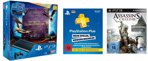 PS3 Superslim (12 GB) + Wonderbook + Move + 90 Tage PlayStation Plus Live für 199 € & 20 € Rabatt auf ein Spiel