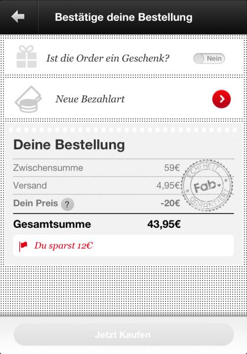 Nur heute - 20 Euro Fab Gutschein über iOS und Android App
