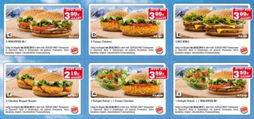 Neues Gutscheinheft für Burger King Österreich - bis zum 28. Februar maximal 50% sparen