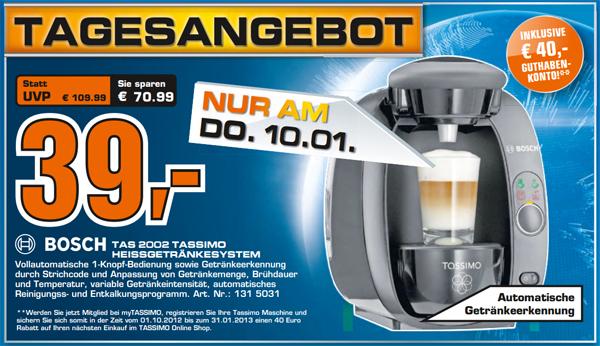 Bosch Tassimo TAS2002 für 44 € + 40 € Guthaben bei Saturn *Update* wieder erhältlich!