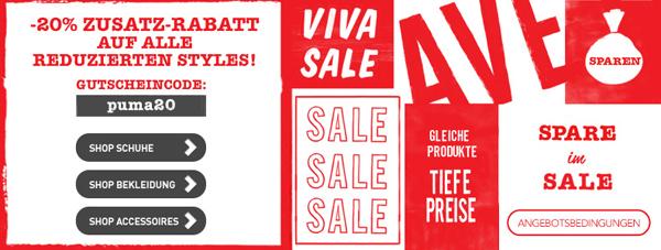 Super! Sale im Online-Shop von Puma und zusätzlich 20% sparen mit Gutscheincode