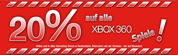 20% Rabatt auf Xbox 360-Spiele bei GameStop und Konter von Amazon