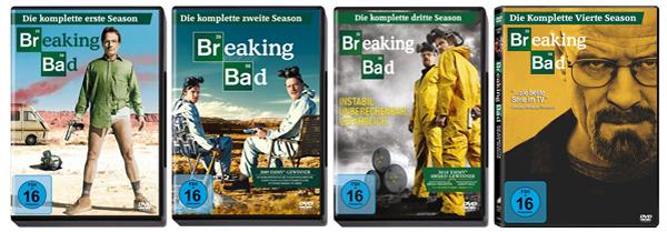 Breaking Bad: Staffel 1 - 4 (DVD) für je 9,99 € bei Amazon