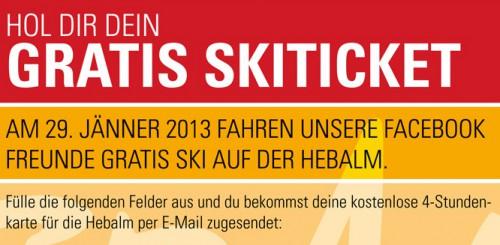 4-Stunden-Ticket für das Skigebiet Hebalm gratis für Facebook-Nutzer - bis zu 26 € sparen