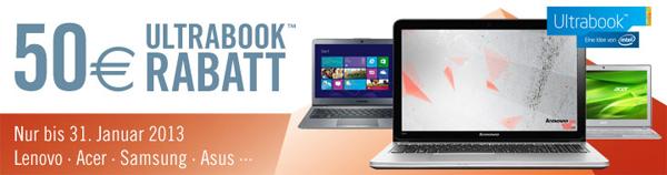 50 € Rabatt auf ausgewählte Ultrabooks - z.B. Lenovo U510 für 499 € statt 605 € *Update* jetzt auch bei Amazon!