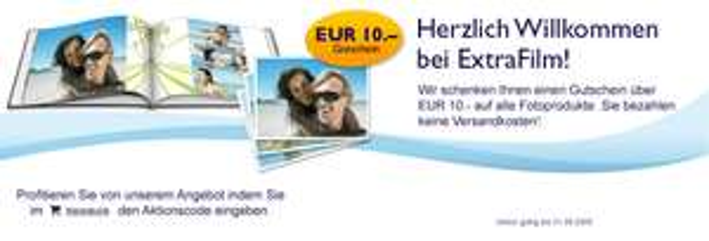 10€ Extrafilm Gutschein - 142 gratis Fotoabzüge versandkostenfrei *UPDATE*