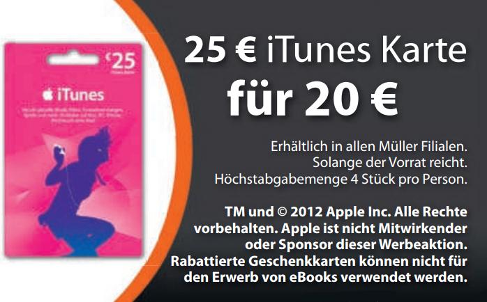 Müller: iTunes-Karten mit 25 € Guthaben für 20 € kaufen und 20% sparen