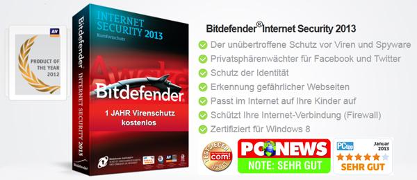 Top! Bitdefender Internet Security 2013 ein Jahr lang komplett kostenlos nutzen