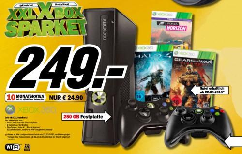 Media Markt: Xbox 360 (250 GB) + 2 Controller + 3 Spiele für 249 € *Update* auch bei Amazon!
