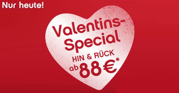Valentins-Special bei AirBerlin und FlyNiki - europaweite Hin- und Rückflüge ab 77 €