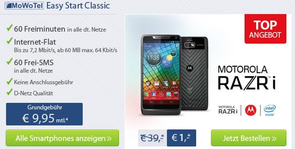 Motorola RAZR i (ohne SIM- und Net-Lock) für effektiv 239,80 € mit Schubladenvertrag - 27% sparen *Update*
