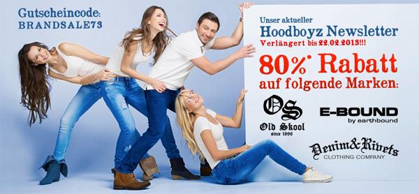 Hoodboyz: 80% Rabatt auf die Marken Earthbound, Old Skool und Denim & Rivets - mit Gutschein
