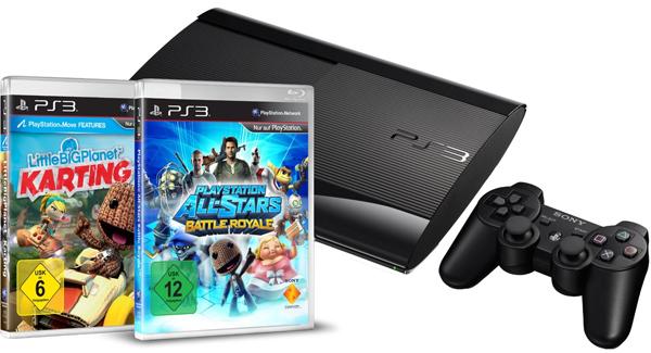 Sony PlayStation 3 SuperSlim (500 GB) + 2 Spiele + 20 € Rabatt auf weiteres Spiel für 249 € bei Amazon