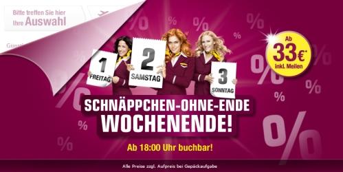 Aktionswochenende bei Germanwings: viele reduzierte Flugtickets ab 33 € - bis Sonntag buchbar