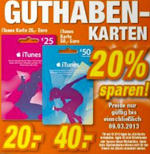 20% Rabatt auf iTunes Guthaben bei Expert und Kaisers