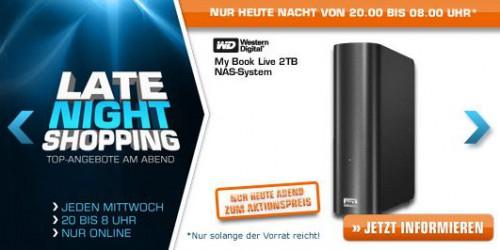 Saturn Late Night Shopping ab 20 Uhr - heute z.B. mit Western Digital My Book Live 2TB NAS für 119€
