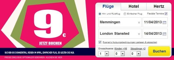 Ryanair: One-Way-Flüge innerhalb Europas ab 9€ im April 2013