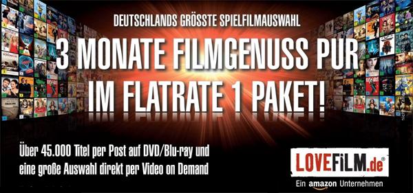 3 Monate Lovefilm Flatrate 1 Paket für 9,99 € bei Amazon