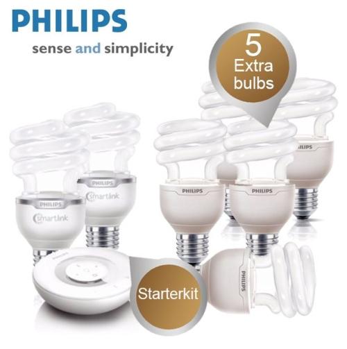 Philips LivingWhites Starterkit (Fernbedienung, 2 Stk. LivingWhites Birnen) + 5 Energiesparbirnen für 75,90€ - 38% Ersparnis