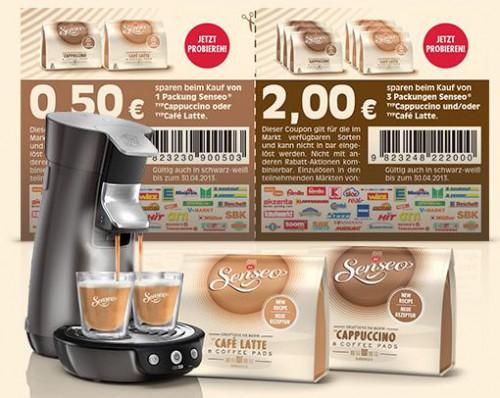 Senseo Cappuccino und Café Latte mit Coupon um 2,50€ günstiger