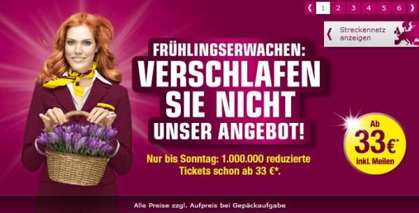 Frühlingserwachen bei Germanwings: Aktionswochenende mit reduzierten Flugtickets ab 33€ - bis Sonntag buchbar