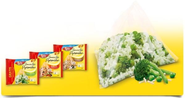 Geld-zurück-Aktion beim Kauf von Iglo Gemüse Reis-Pyramiden