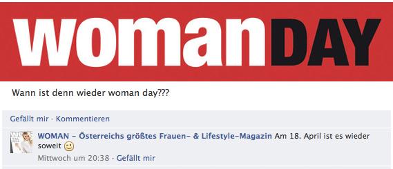 Vorabinfo: Am 18. April ist wieder Womanday