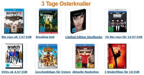 3 Tage Osterknaller bei Amazon - Blu-rays ab 7,97 €, 3D-Blu-rays um 14,97 € und günstige Steelbooks