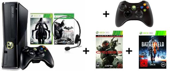 Xbox 360 (250 GB) + 2 Controller + Darksiders 2, Batman Arkham City, Crysis 3 & Battlefield 3 für 241 €