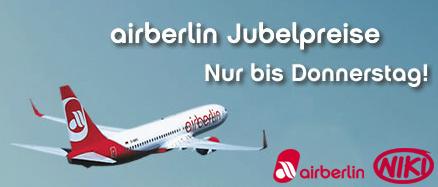 Jubelpreise bei AirBerlin und FlyNiki - Hin- und Rückflüge innerhalb Europas ab 88 €