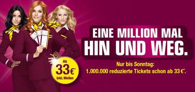 Germanwings: 1 Million reduzierte One-Way-Tickets ab 33 € - bis Sonntag