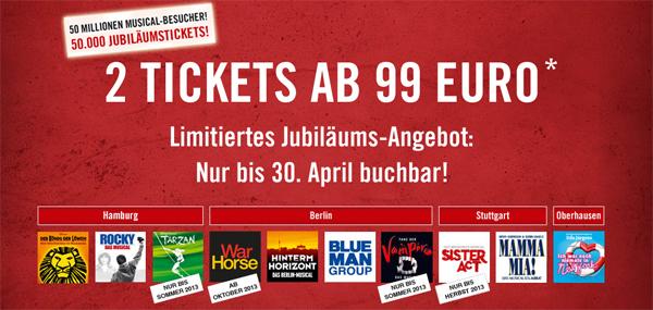 Günstige Musical-Tickets bei Stage Entertainment – 2 Tickets für ~122 € buchen