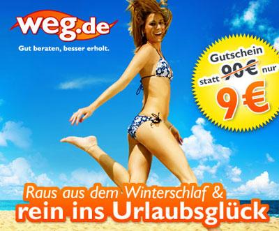 90 € weg.de-Gutschein für 9 € – nur für Pauschal- und Last-Minute-Reisen *Update* wieder erhältlich