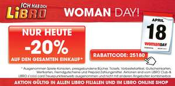 Woman Day 2013: 20% Rabatt auf fast das gesamte Sortiment bei Libro