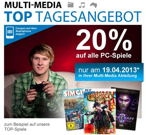 Müller: 20% Rabatt auf alle PC-Spiele - aber nur heute!