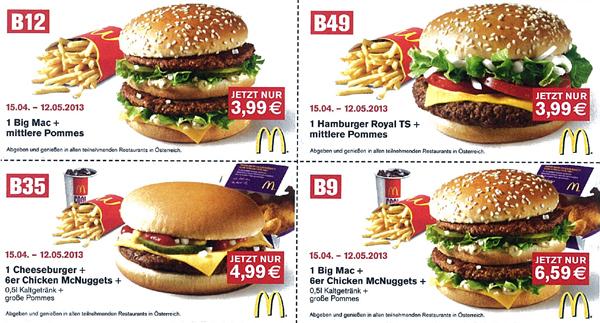 Neues Gutscheinheft für McDonald's Österreich – gültig bis 12. Mai 2013