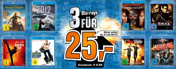 3 Blu-rays für zusammen 25 € bei Saturn Deutschland
