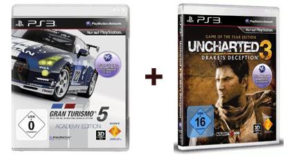 Gran Turismo 5 Academy Edition + Uncharted 3 GotY (PS3) für zusammen 27,95 €