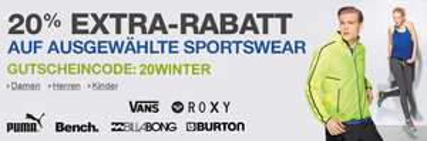 20% Rabatt auf ausgewählte Sportswear bei Amazon - mit Gutscheincode