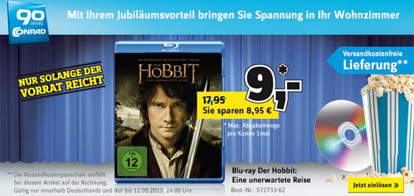 Der Hobbit: Eine unerwartete Reise auf Blu-ray für 10 € *Update* jetzt bei Conrad für 9 €
