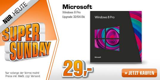 Microsoft Windows 8 Pro Upgrade (32/64 Bit) für 29 € - 39% sparen