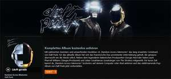 "iTunes: Das neue Daft Punk Album ""Random Access Memories"" kostenlos streamen"