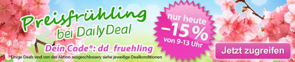 DailyDeal Österreich: 15% Frühlingsrabatt auf (fast) alles - bis 13 Uhr