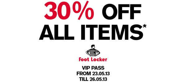 Foot Locker: 30% Rabatt auf das gesamte Sortiment - ab morgen auch im Online-Shop