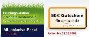 Arcor DSL 6000 + Telefon Flat für monatlich 19,55€ mit Amazon Gutschein