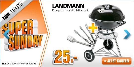 Top: Landmann Kugelgrill (41,5 cm) + 3 tlg. Grillbesteck für nur 25 Euro im Saturn Super Sunday - 44% günstiger!